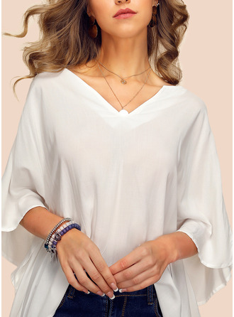 Solid V-Neck 1/2 Sleeves Batwing Sleeves Casual Elegant