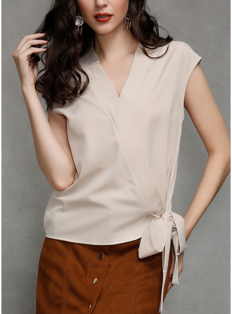 Solid V-Neck Sleeveless Casual Elegant