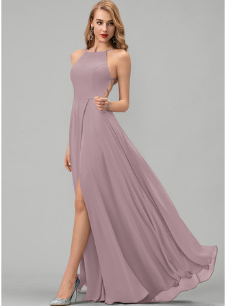A-Line Scoop Neck Floor-Length Chiffon Bridesmaid Dress With Split Front