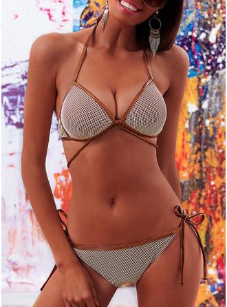 Bikinis Del chinlon Nylón Cintura Baja Cadena Tanga Con Tirantes De mujer Sí Ropa de baño