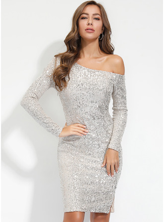 Knee Length One Shoulder Polyester Sequins Long Sleeves Fashion Dresses