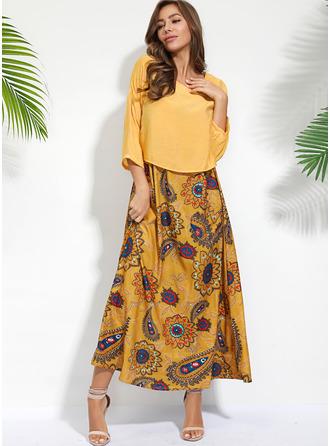 Blommig Print Shiftklänningar 3/4 ärmar Maxi Fritids Tunika Modeklänningar