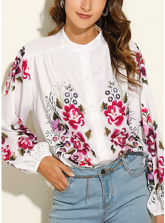 Floral Print V-Neck Long Sleeves Casual