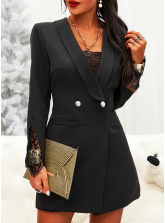 Lace Solid Bodycon Long Sleeves Mini Little Black Elegant Dresses