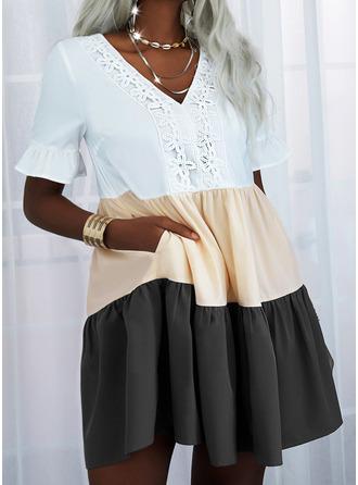 Color Block Lace Shift Short Sleeves Mini Casual Tunic Dresses