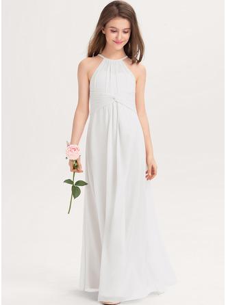 A-Linie U-Ausschnitt Bodenlang Chiffon Kleider für junge Brautjungfern mit Rüschen
