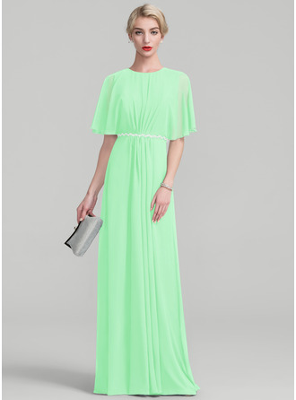 A-Line/Princess Scoop Neck Floor-Length Chiffon Mother of the Bride Dress With Ruffle Lace Beading