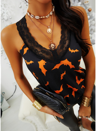 Animal Print Lace V-Neck Sleeveless Halloween Casual Tank Tops