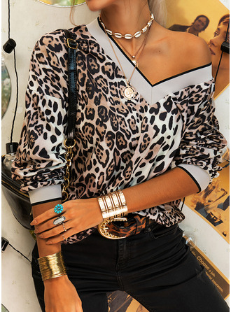 Leopard V-Neck Long Sleeves Casual Blouses