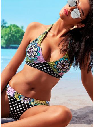 Bikinis Polyester Spandex Floral Print Women's Yes Swimwear