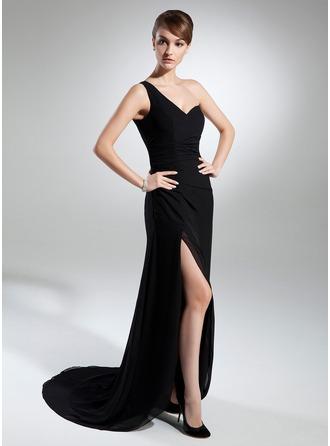 Sheath/Column One-Shoulder Sweep Train Chiffon Evening Dress With Ruffle Split Front