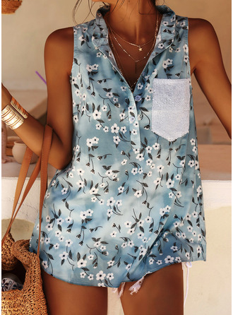Floral Print Sequins V-Neck Sleeveless Casual Tank Tops
