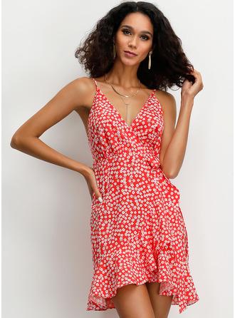A-line Spaghetti Straps Polyester Dresses