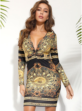 Print Bodycon Long Sleeves Midi Vintage Pencil Dresses