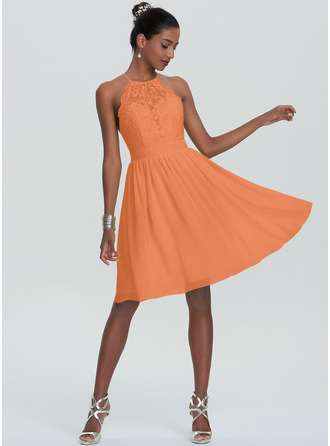 A-Line Scoop Neck Knee-Length Chiffon Homecoming Dress