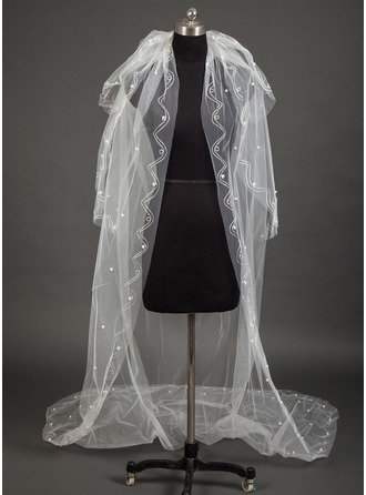 Three-tier Cut Edge Chapel Bridal Veils With Beading