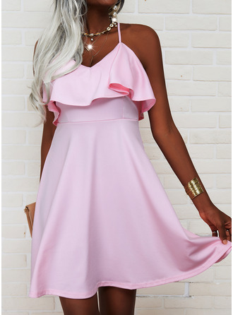 Solid A-line Sleeveless Mini Casual Skater Type Dresses