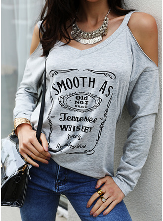 Figure Print Cold Shoulder Long Sleeves Casual Blouses (1003251416)