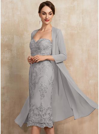 Etui-Linie Schatz Knielang Spitze Kleid für die Brautmutter
