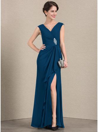 A-Linie/Princess-Linie V-Ausschnitt Bodenlang Chiffon Kleid für die Brautmutter mit Perlstickerei Schlitz Vorn Gestufte Rüschen