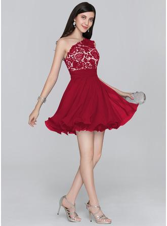 Çan/Prenses Bir omuz Kısa/Mini Şifon Mezunlar Gecesi Elbisesi Ile Büzgü