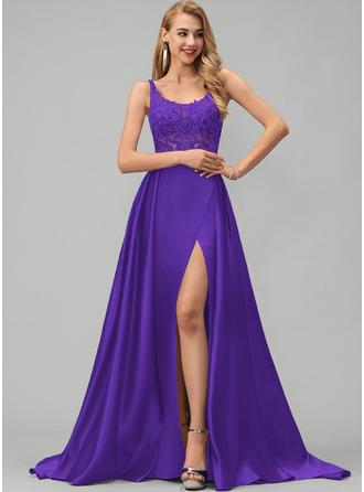 A-Line Square Neckline Sweep Train Satin Prom Dresses With Lace Sequins Split Front