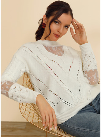 Crew Neck Casual Patchwork Solid Cable-knit Sweaters
