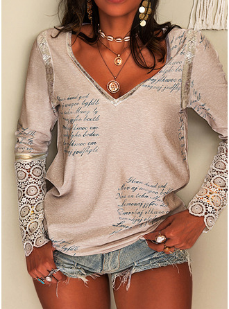 Figure Lace Print V-Neck Long Sleeves Elegant Blouses