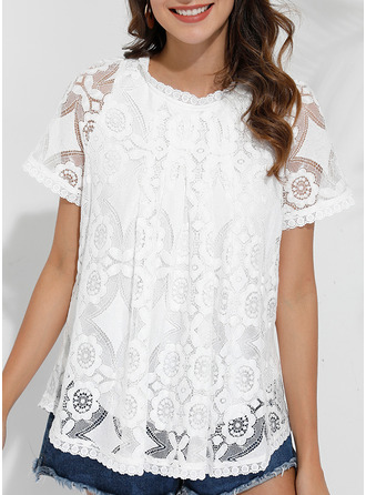 Lace Solid Round Neck Short Sleeves Button Up Casual Elegant