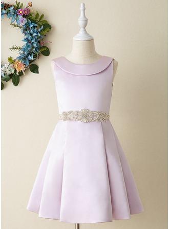 Corte A Coquetel Vestidos de Menina das Flores - Cetim Sem magas Decote redondo