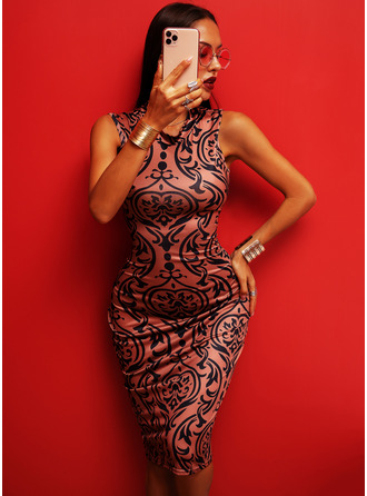 Print Bodycon Sleeveless Midi Elegant Dresses