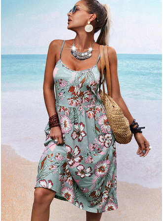 Floral Estampado Vestido linha-A Sem mangas Midi Casual Skatista Tipo Vestidos na Moda