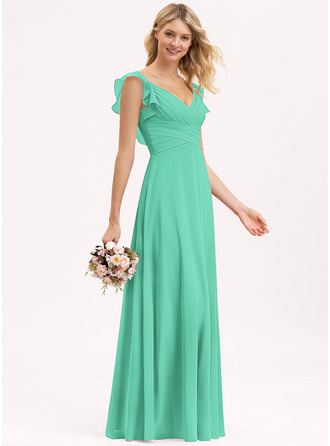 Empire V-neck Floor-Length Chiffon Prom Dresses With Cascading Ruffles