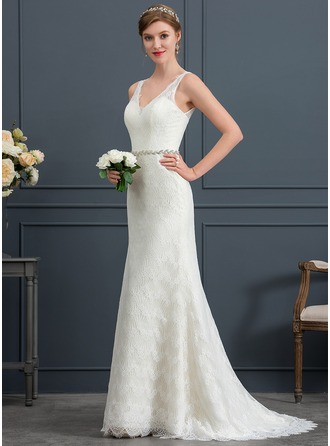 Trumpet/Mermaid V-neck Sweep Train Lace Wedding Dress With Sash