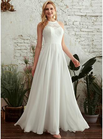 A-Linje Rund-urringning Golvlång Bröllopsklänning