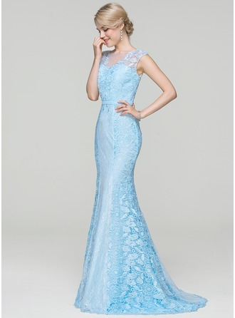 Trumpet/Mermaid Scoop Neck Sweep Train Lace Evening Dress