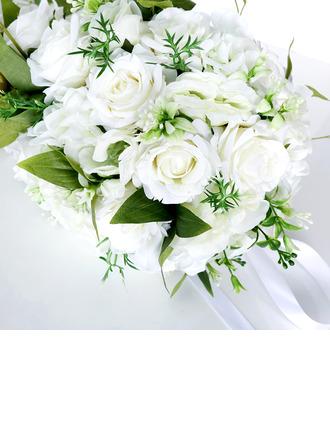 Pretty Cascade Imitation Pearl/Silk Flower Bridal Bouquets - Bridal Bouquets