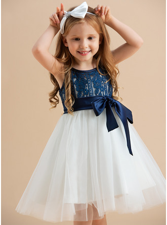 A-Line Knee-length Flower Girl Dress - Tulle/Lace Sleeveless Scoop Neck With Sash
