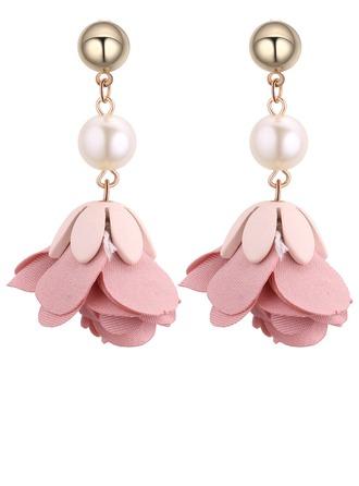 Moda La perla de faux cobre Tela Señoras' Pendientes de la manera