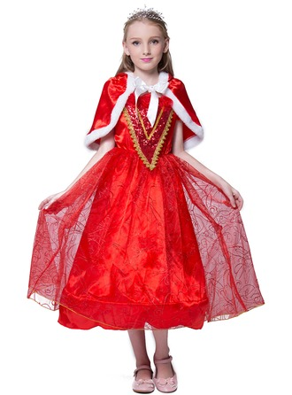 A-Line/Princess Tea-length Flower Girl Dress - Polyester Short Sleeves Scoop Neck