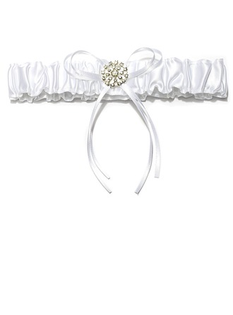 Chic Satin With Ribbons Rhinestone Wedding Garters