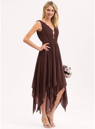 A-Line V-neck Ankle-Length Chiffon Lace Bridesmaid Dress