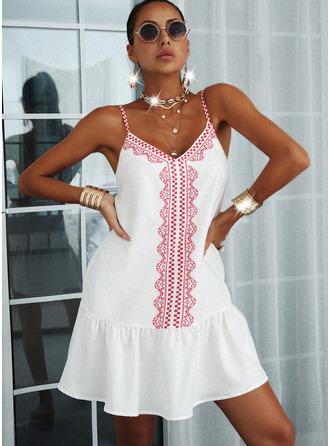 Print Backless Shift Sleeveless Mini Casual Type Dresses