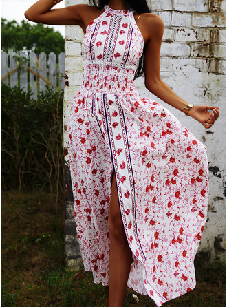Floral Print A-line Sleeveless Maxi Boho Casual Vacation Skater Dresses