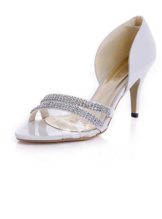 De mujer Piel brillante Tacón stilettos Encaje Sandalias con Rhinestone