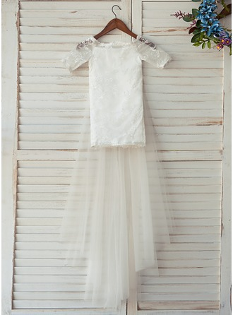 A-Line/Princess Knee-length Flower Girl Dress - Tulle/Lace 1/2 Sleeves Off-the-Shoulder