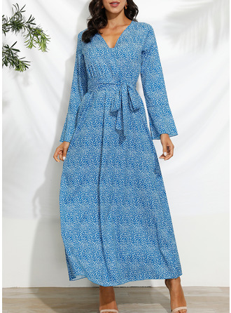 Print A-line Flare Sleeve Long Sleeves Maxi Casual Vacation Skater Dresses