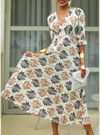 Maxi V neck Polyester Print 1/2 Sleeves Fashion Dresses