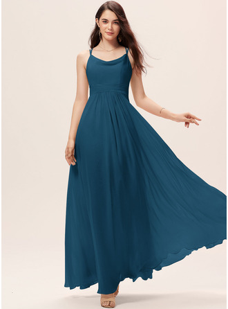 A-Line Cowl Neck Floor-Length Chiffon Bridesmaid Dress