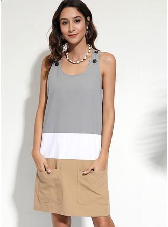 Color Block Shiftklänningar Ärmlös Midi Fritids Semester Modeklänningar